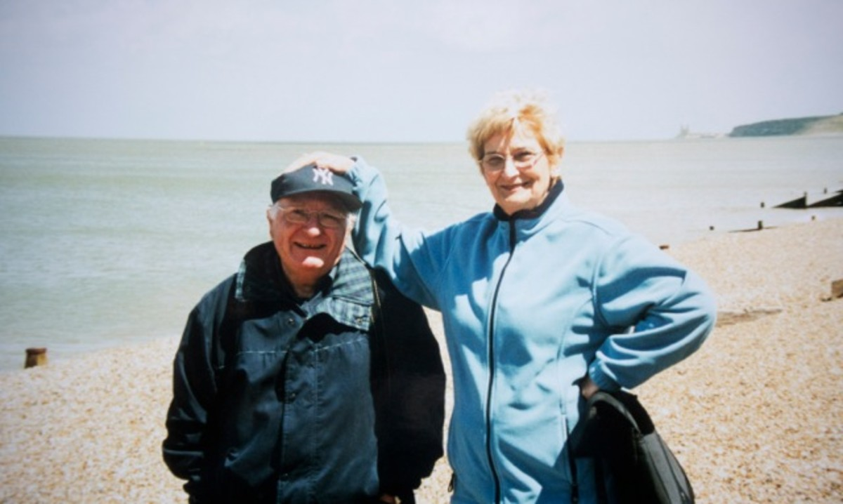 Mum and Dad, Whitstable beach, sometime in the early 2000s