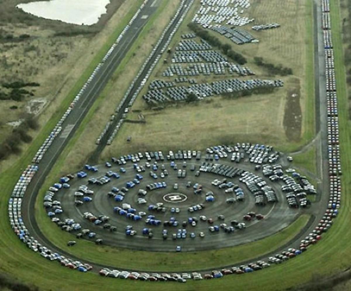 Nissan's test track contains thousands of new surplus autos
