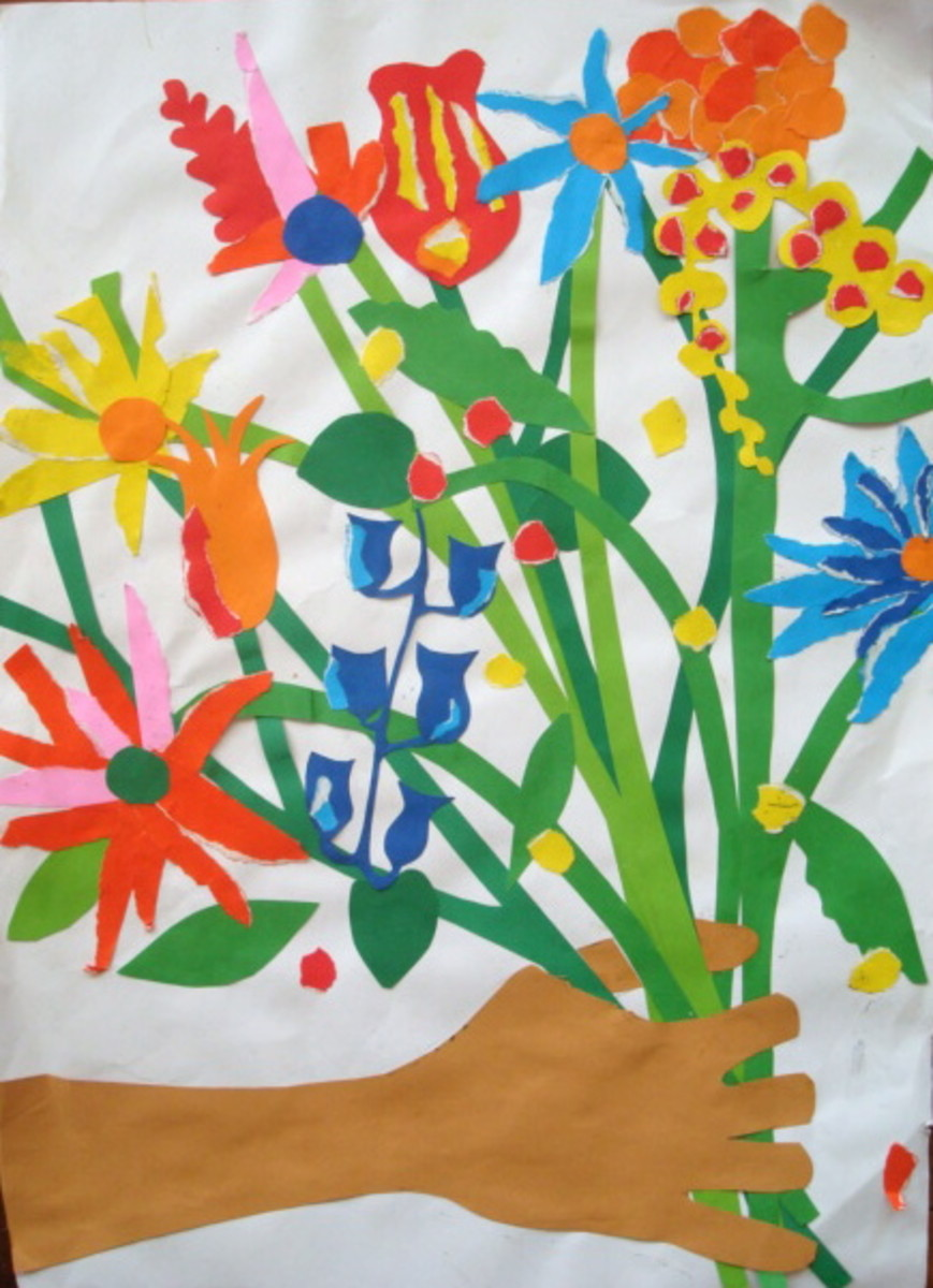 Art Lessons for Kids: How to Make a Paper Collage Bouquet