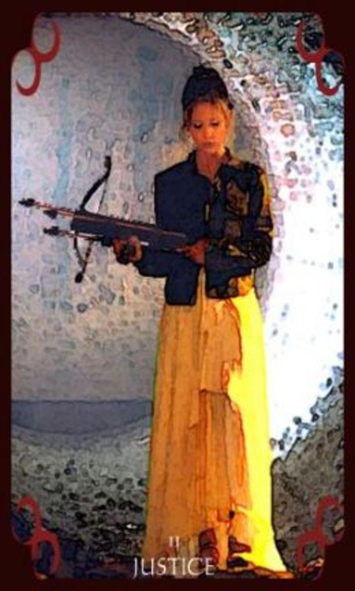 My Buffy the Vampire Inspired Major Arcana Tarot deck, featuring Buffy as Justice
