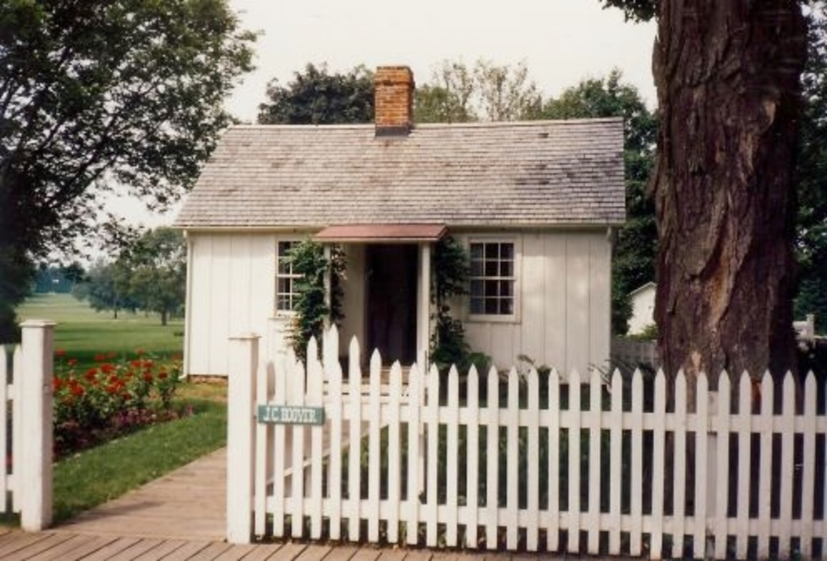The small cottage where Herbert Hoover was born in West Branch, Iowa.