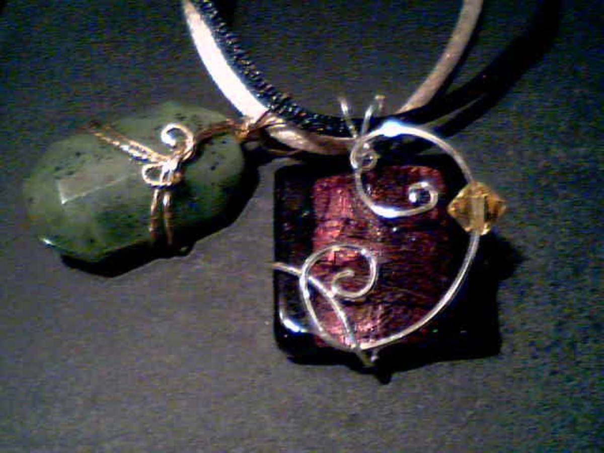 14K Gold Filled Hand Wrapped Stone Natural Stone Pendant Wire Wrapped Wire Wrap Indian Paint Rock Hand Wrap