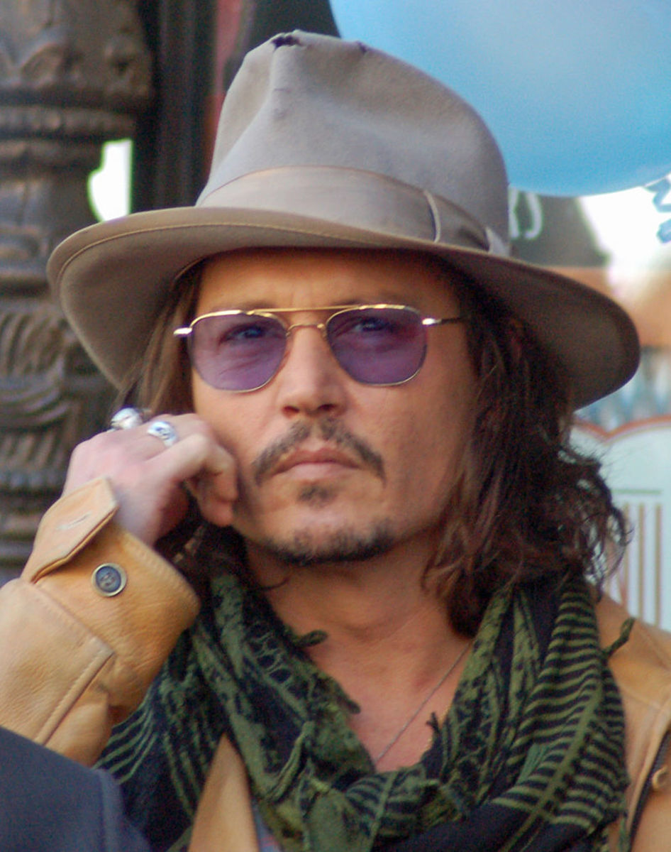 Johnny Depp, receiving a star on the Hollywood Walk of Fame.  April, 2011