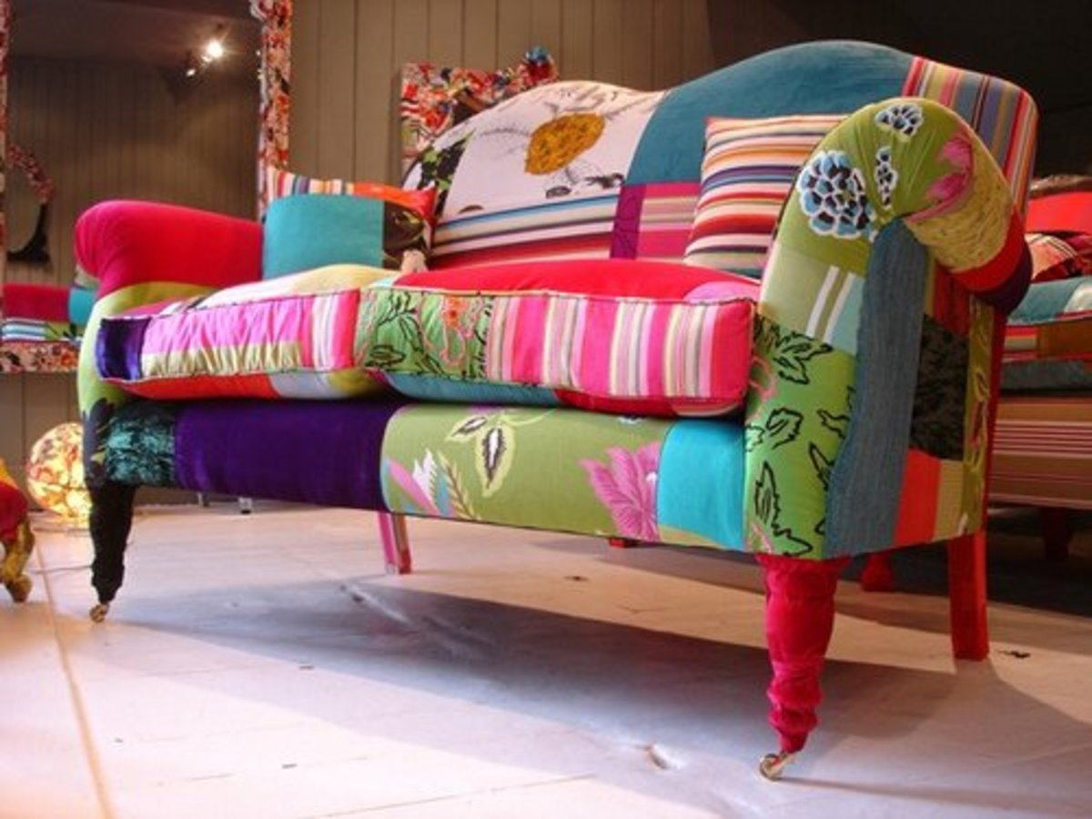Colorfully upholstered loveseat