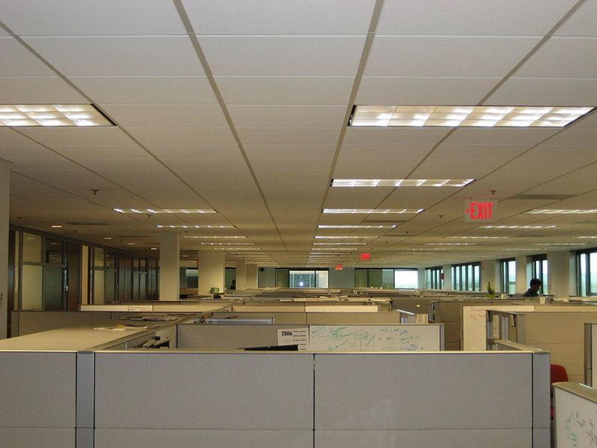 Typical office lighting arrangement.