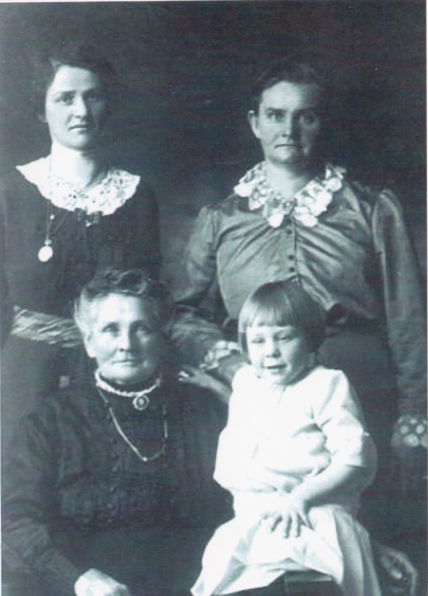 Four generations on my father's side:  great-grandmother, great-aunt, second cousin, and third cousin