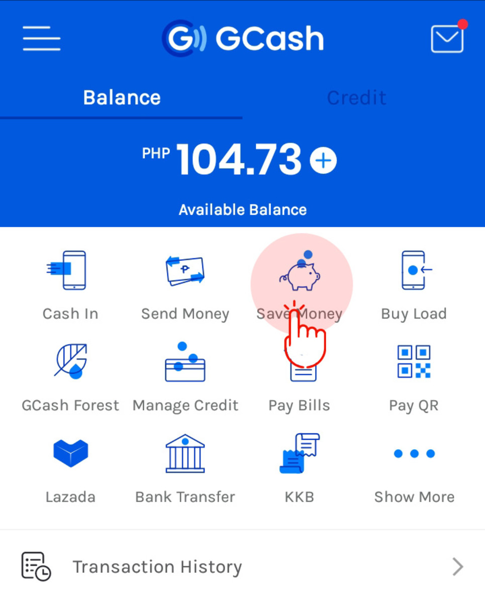 Save Money function of GCash allows its users to instantly create a savings account under partner bank, CIMB