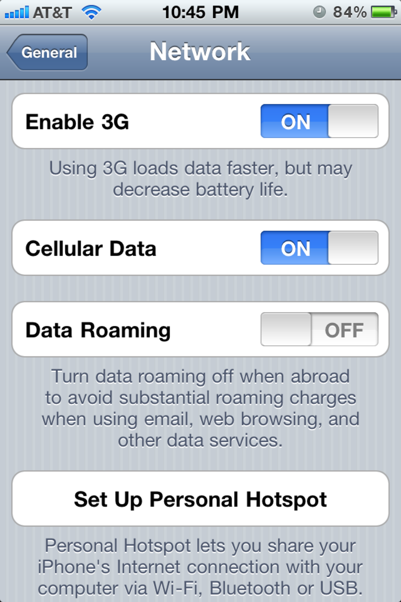 Note that turning off 3G won't necessarily turn off your internet completely.