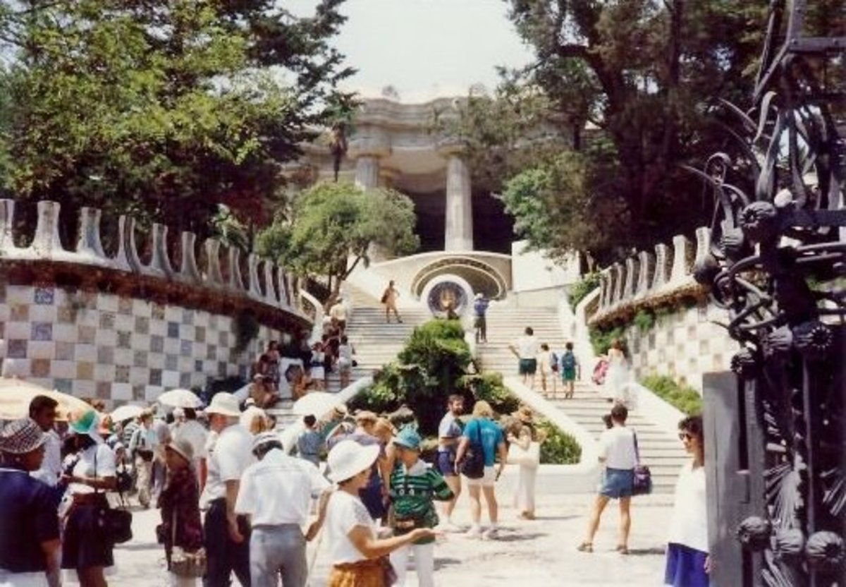 Entrance view of Güell Park in Barcelona, Spain