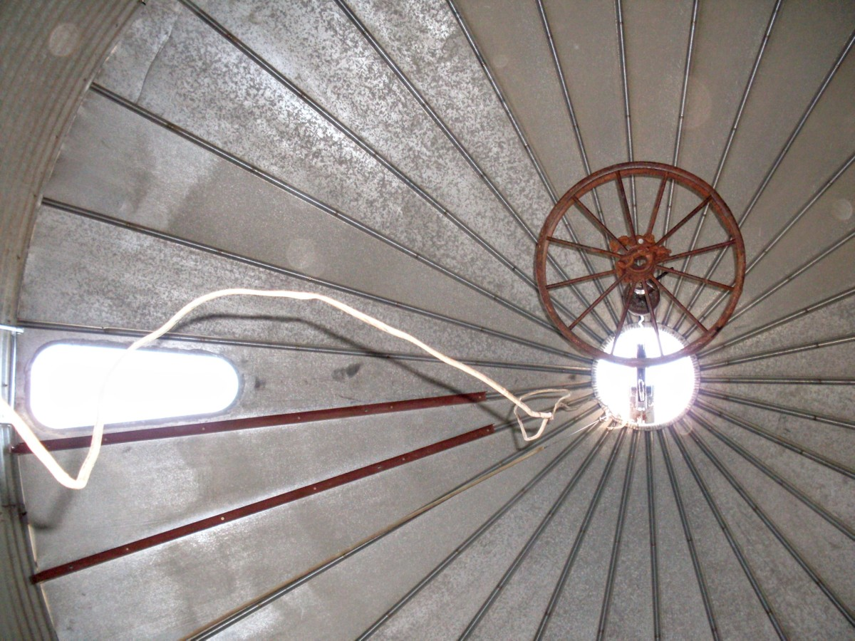 There's something magical about staring up at the roof of a grain bin...almost like a cathedral. That's the lifting ring in the center, almost like a chandelier - an old truck rim, a bit bigger than the hole.