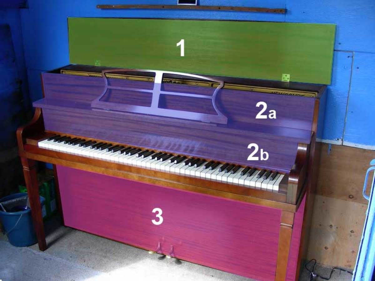 The covers of an upright/studio piano.