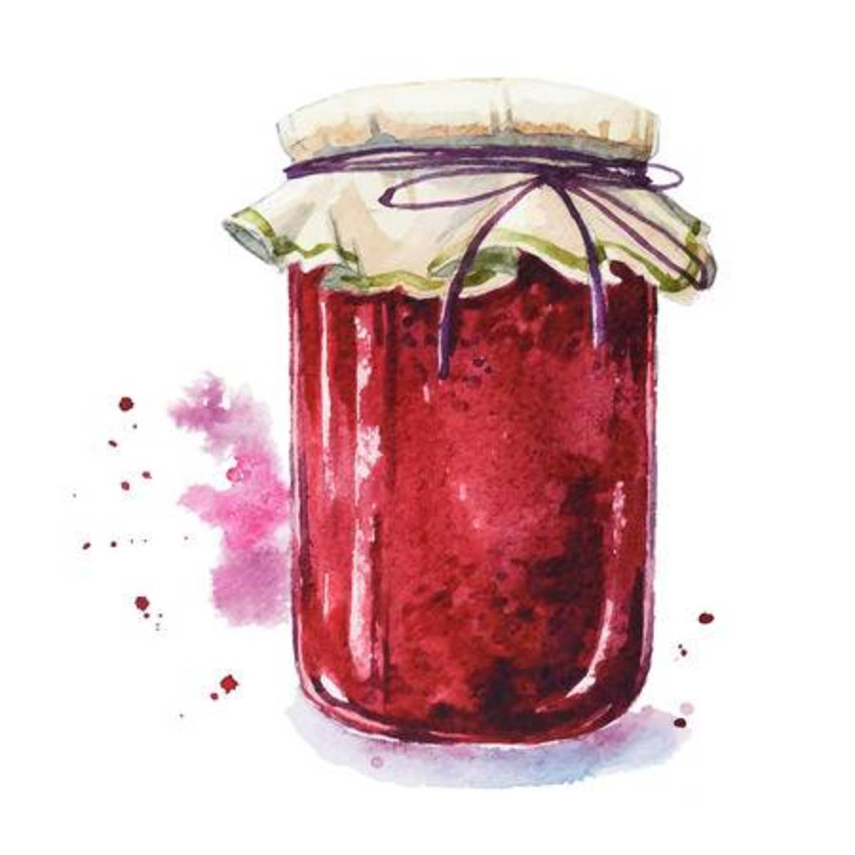 A beautifully presented jar of jam for a friend . . . or a lovely pantry shelf.