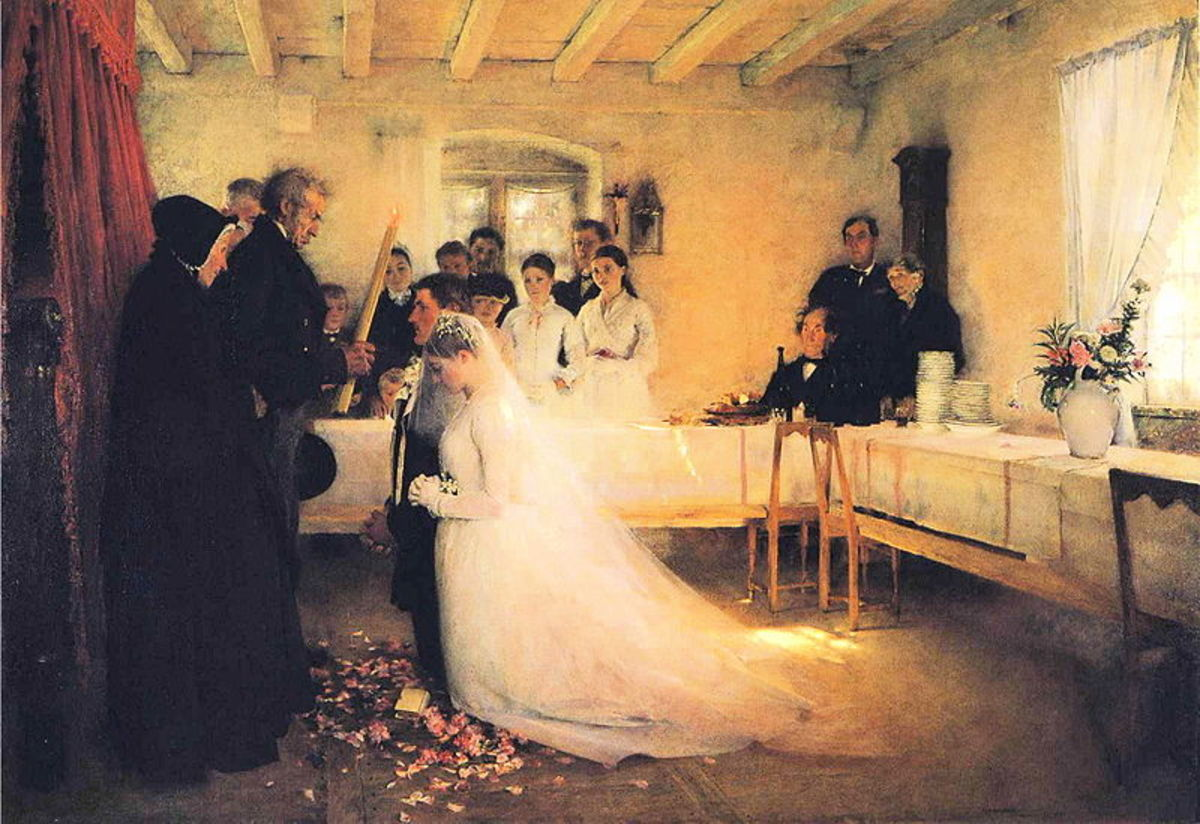 Blessing of the Young Couple Before Marriage by Pascal Dagnan-Bouveret, 1880. Image courtesy of Wiki Commons