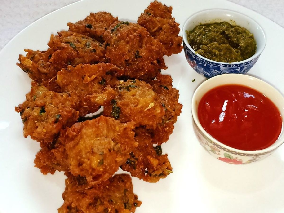 Chawal ke pakode are rice fritters that are made with leftover rice