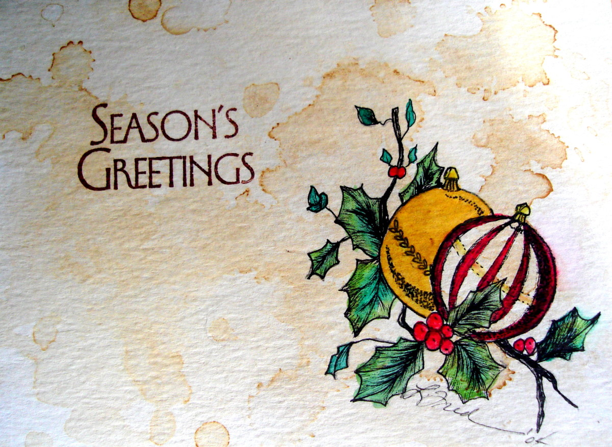 Unique Handmade Christmas Cards: Ink and Wash Watercolor Cards