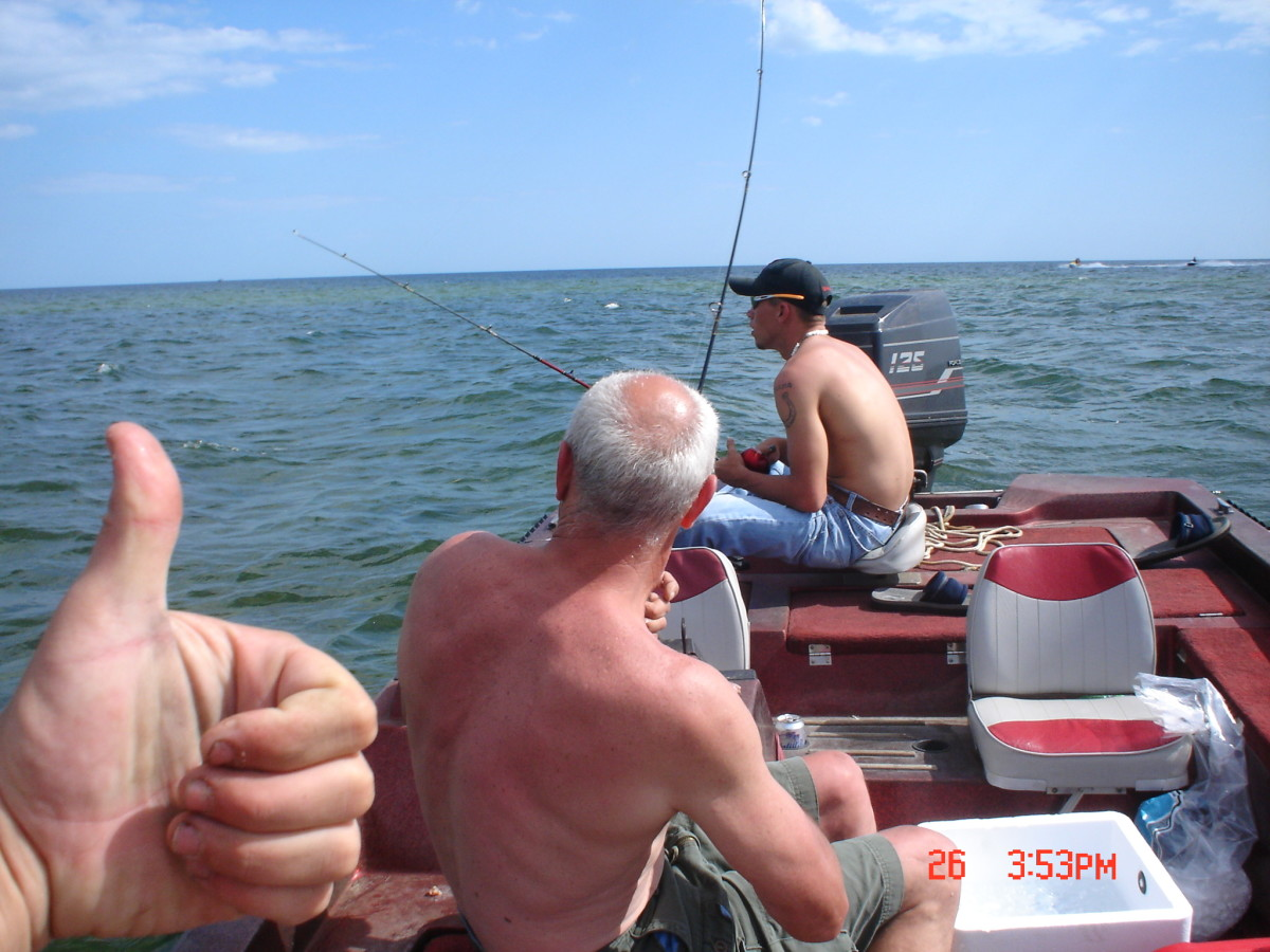 Chum from a boat to call the fish to dinner!