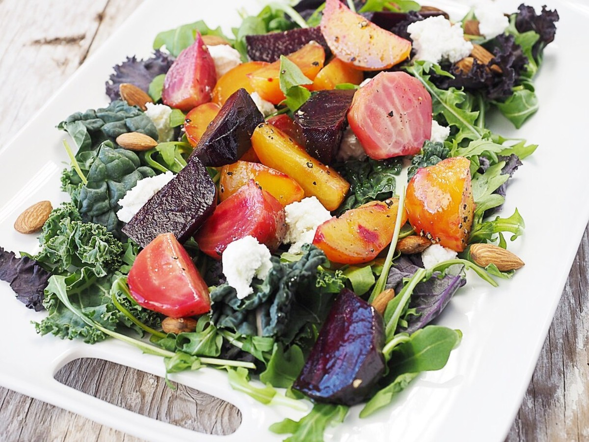 A healthy salad; the beets are high in oxalate, however