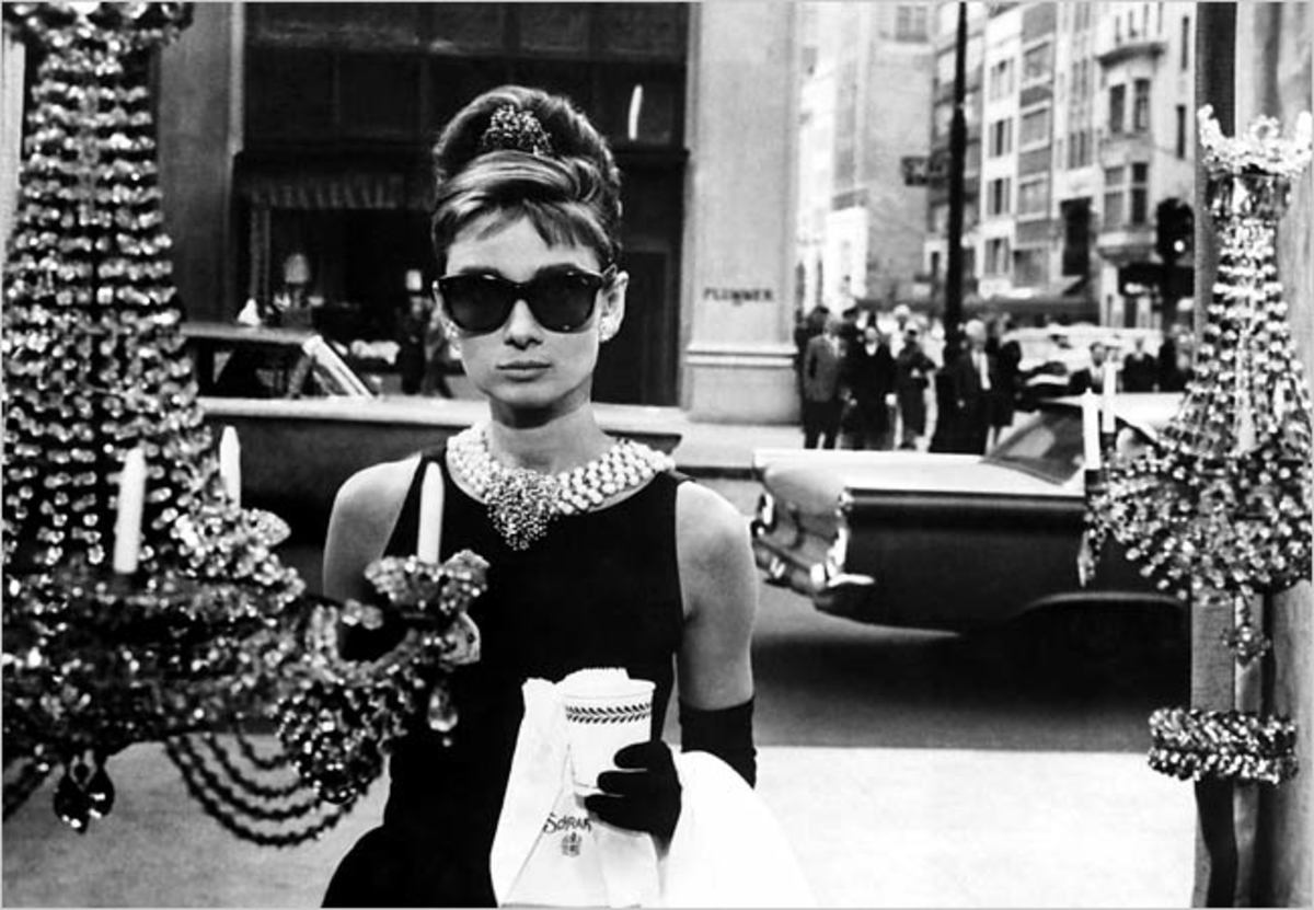 "Audrey Hepburn as the fabulous Holly Golightly in ""Breakfast at Tiffany's."""