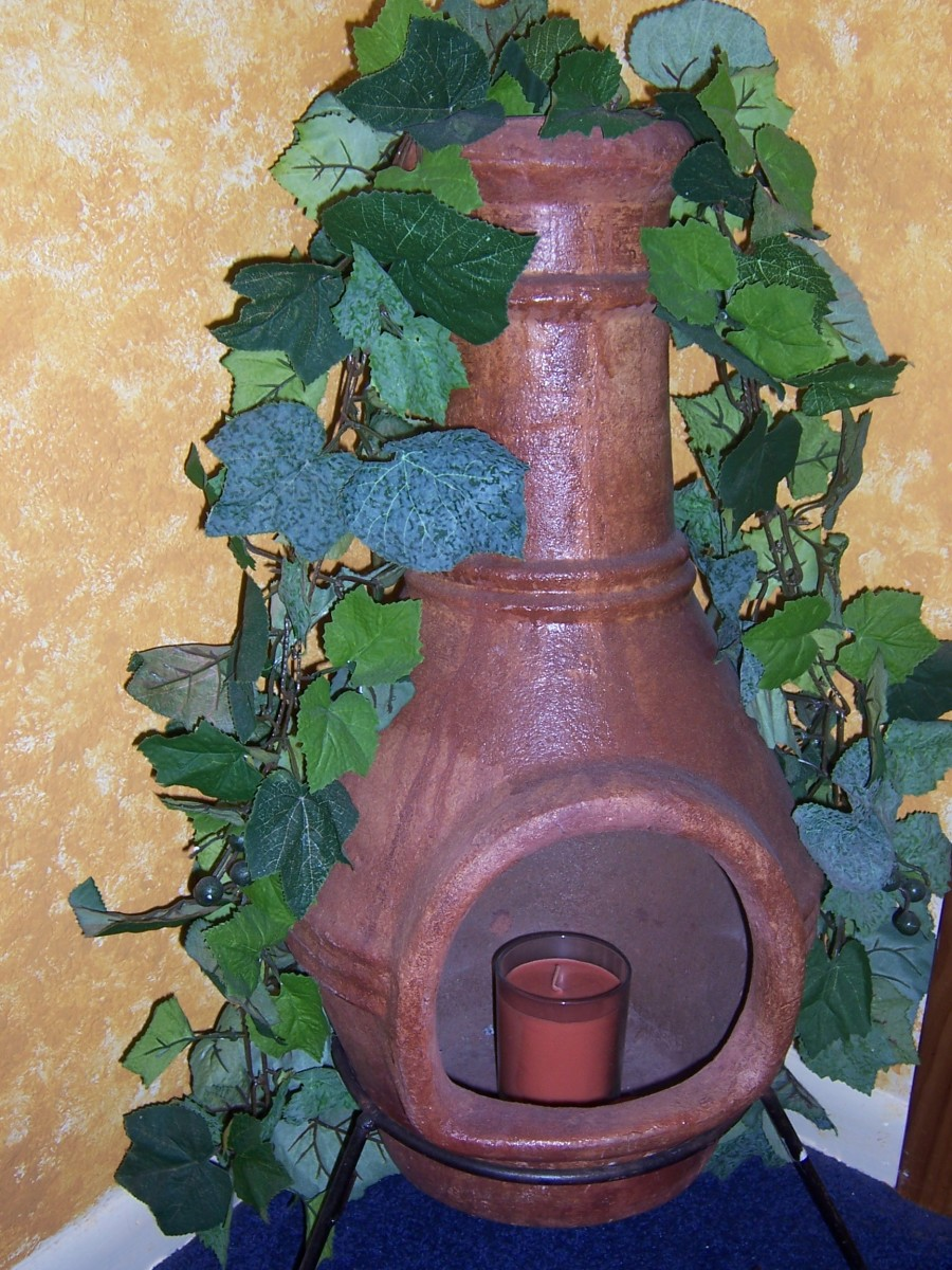 Here is the chiminea I have in my bedroom—I have since added ornamental stones around the base of the candle for a bit of color.
