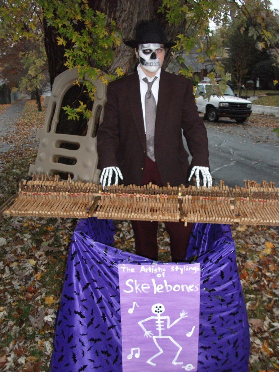 Skelebones, the skeleton piano player, is always a hit with kids.