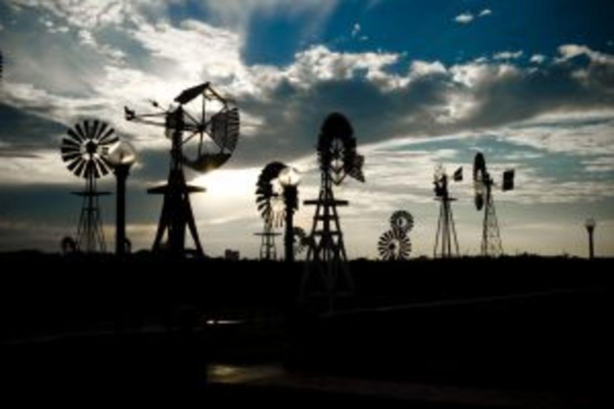 Windmills in Texas.