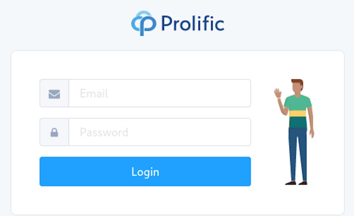 The Prolific Academic login screen.