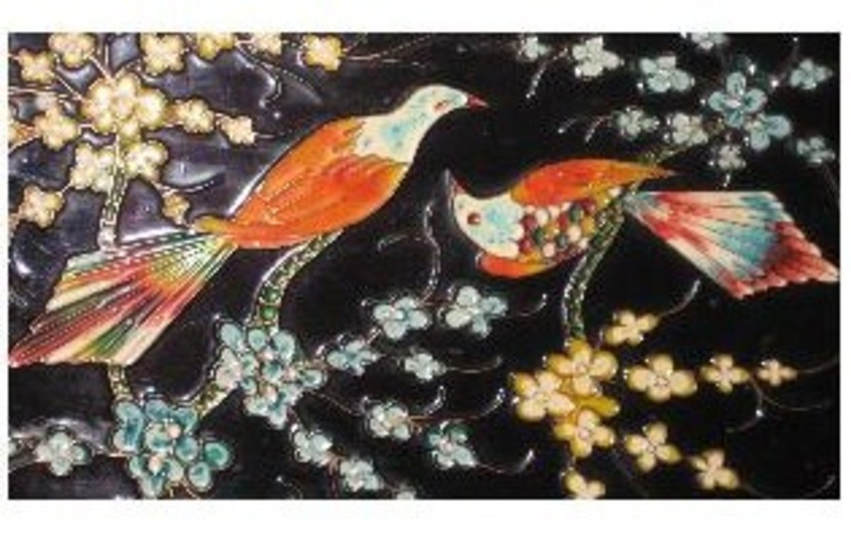 the ceramic tile with the two birds together... at last.