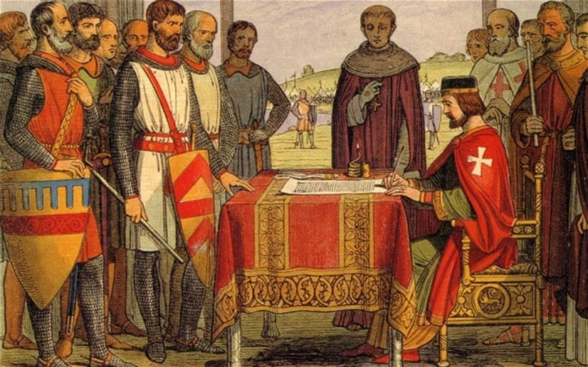 In this depiction, King John of England is shown signing the Magna Carta. It is highly unlikely that John signed the famous document as it is unlikely that he would write. It's more likely that the document was sealed, not signed.