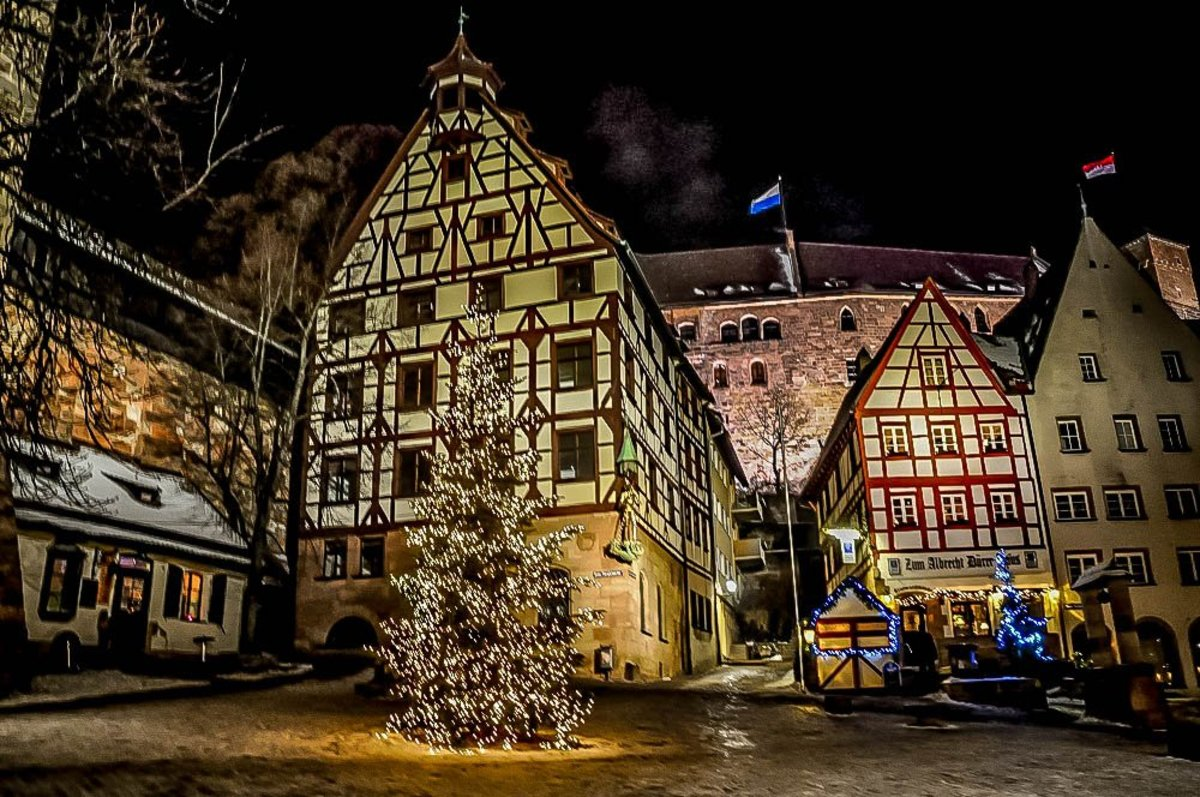 Timber houses in Nuremburg decorated for the holidays