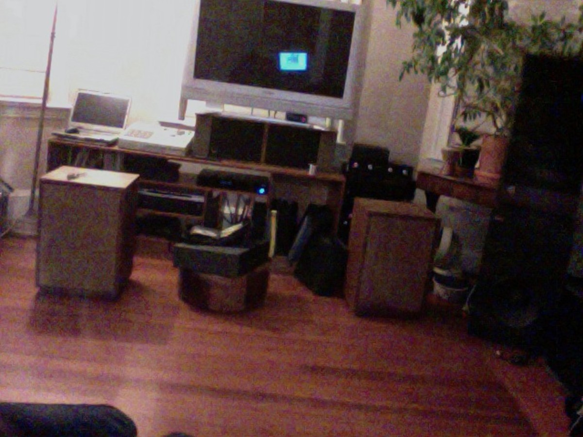 My Klipsch Heresy II's, on the floor while I demo a pair of McIntosh XR-14s