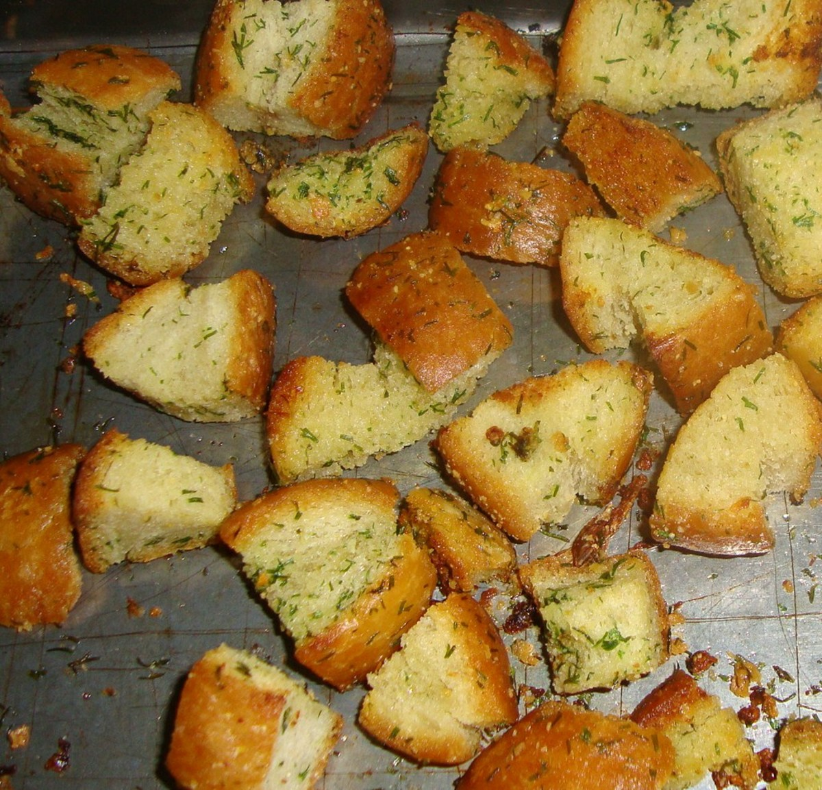 Croutons offer up delectable hints of real butter, garlic, and parsley. These crispy,  flavorful bites are delicious as a topper for salad.