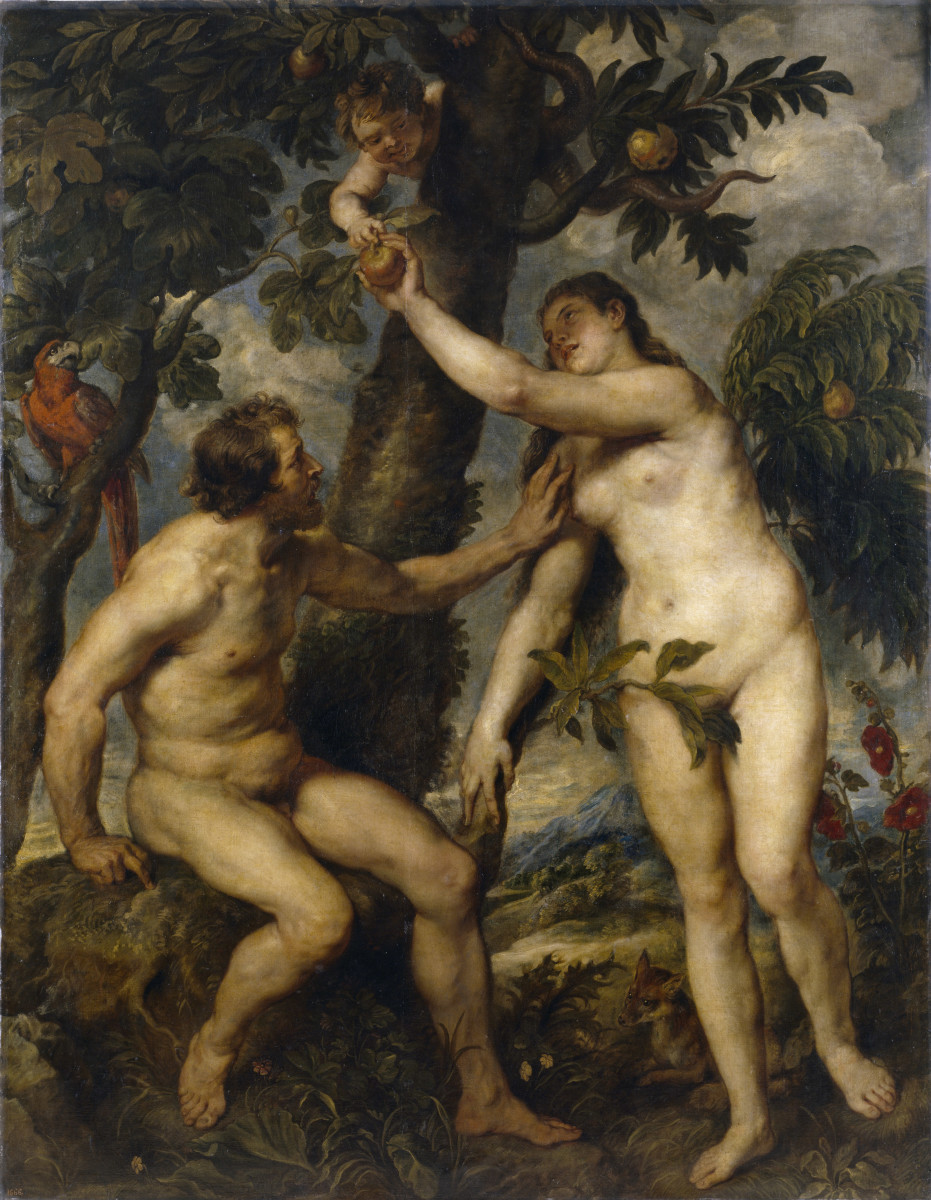 Adam and Eve by Peter Paul Rubens. It represents the moment Eve reaches for the forbidden fruit. Women in the Bible tend to be portrayed as sinful.