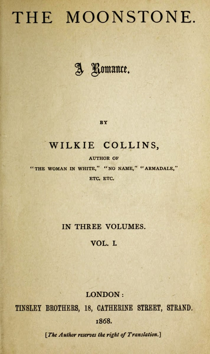 The first edition title page of The Moonstone by Wilkie Collins