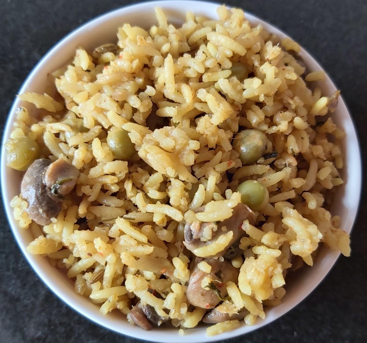 Mushroom and peas pulao is flavorful and mildly seasoned