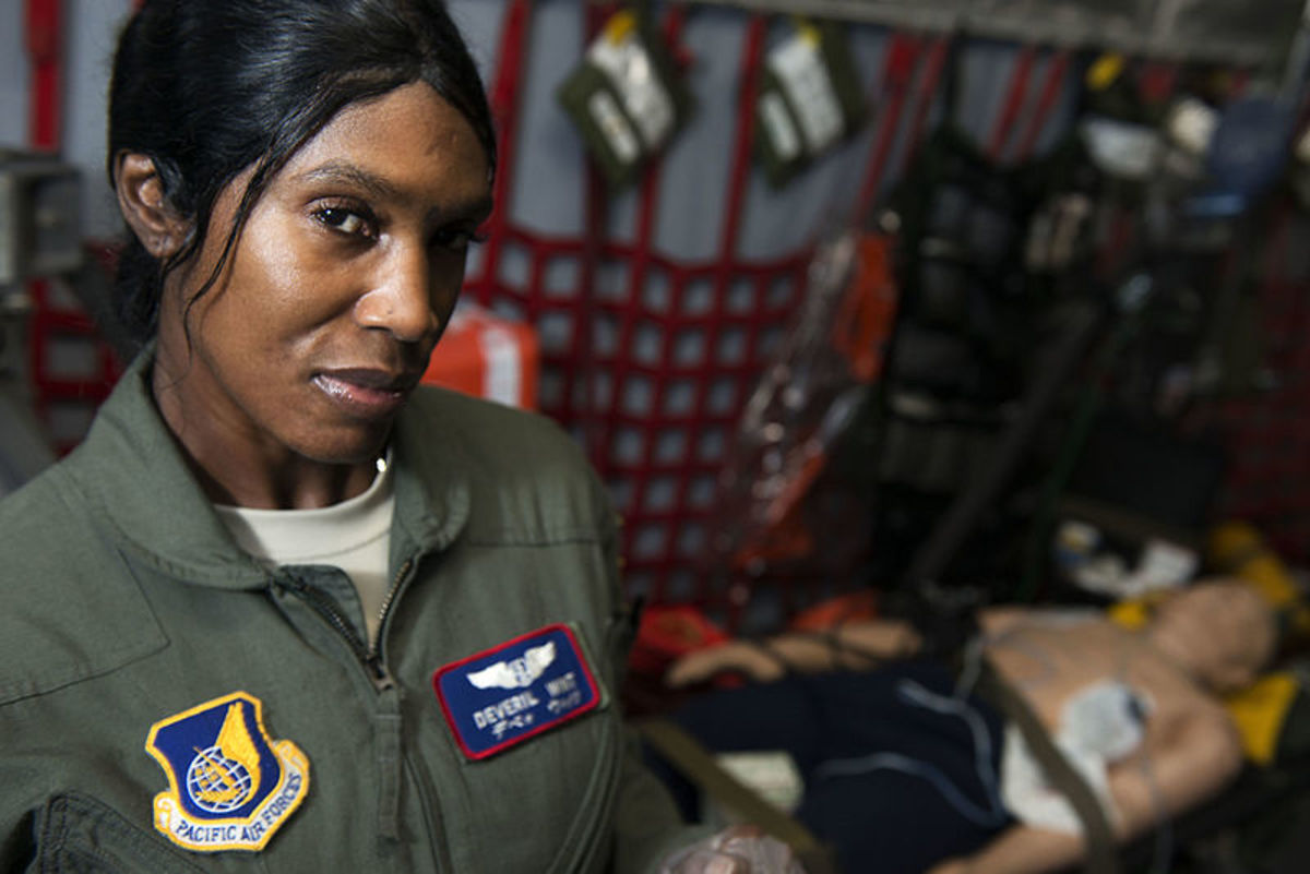 US Air Force Maj. Deveril Wint, operations flight commander of the 18th Aeromedical Evacuation Squadron was the Commemorative Air Force Dolly Vinsant Flight Nurse of the Year for 2013.