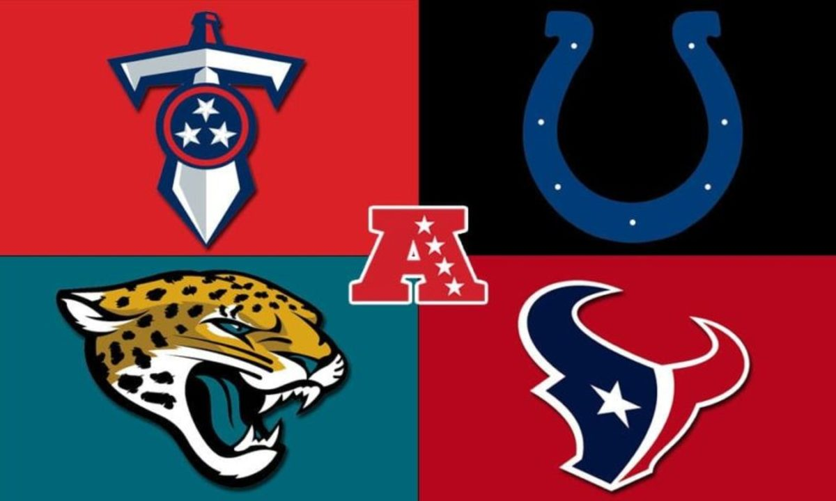 The team logos for the AFC South.