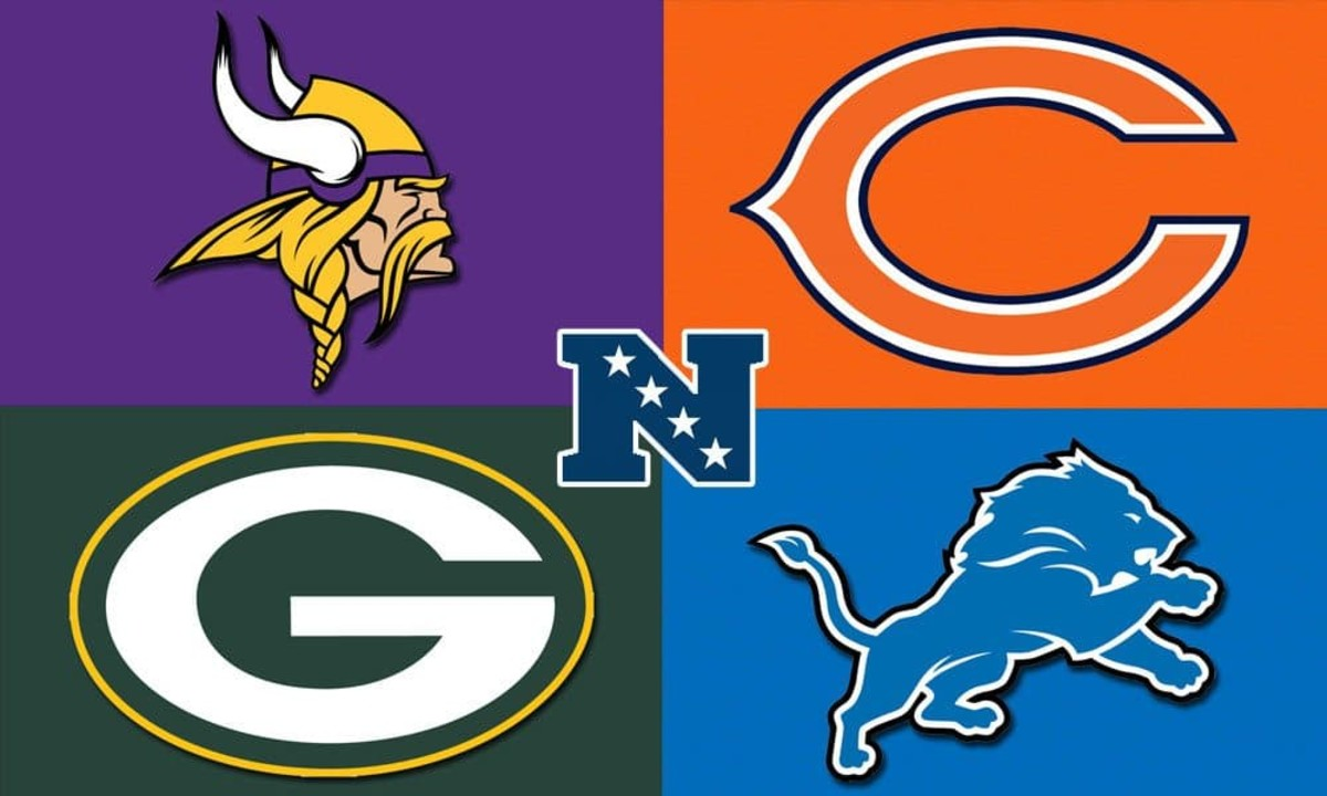 The logos of the NFC North teams.