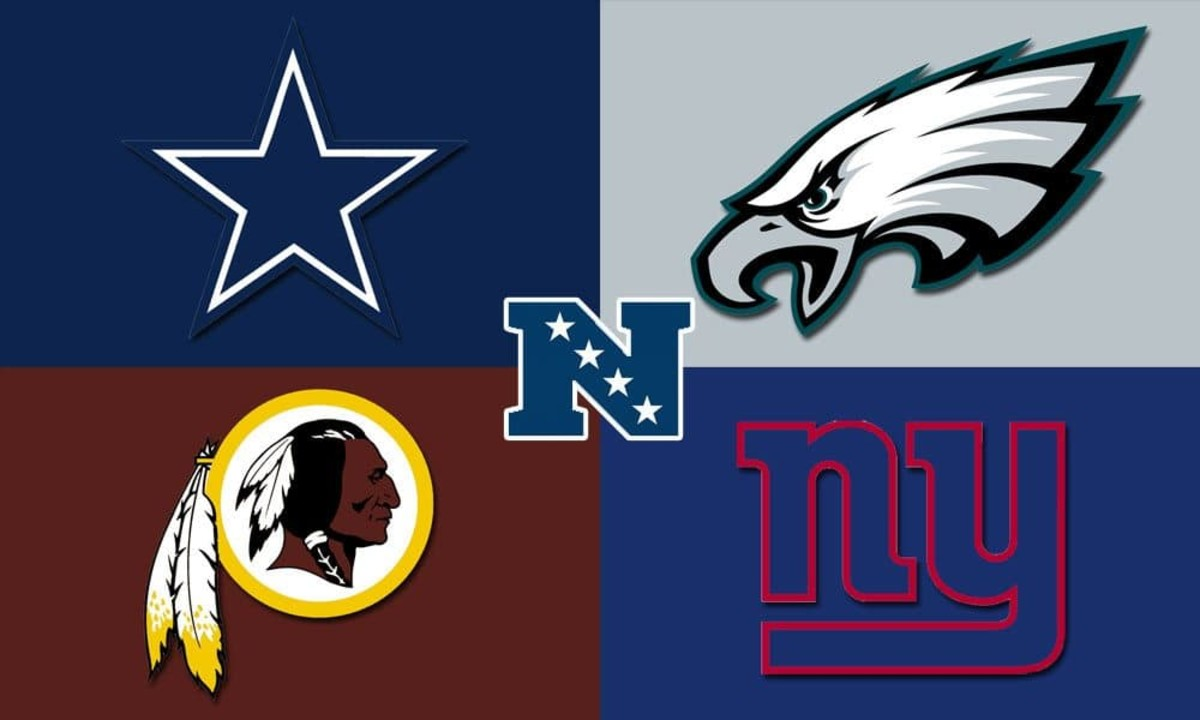 Team logos in the NFC East.