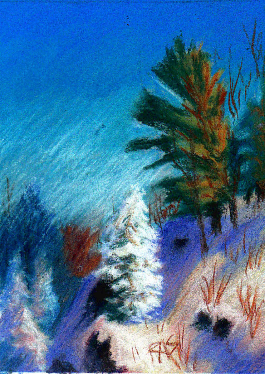 "A Winter Fantasy, 5"" x 7"" in Richeson semi-hard pastels on Fresh Grey Colourfix sanded pastel card, by Robert A. Sloan"