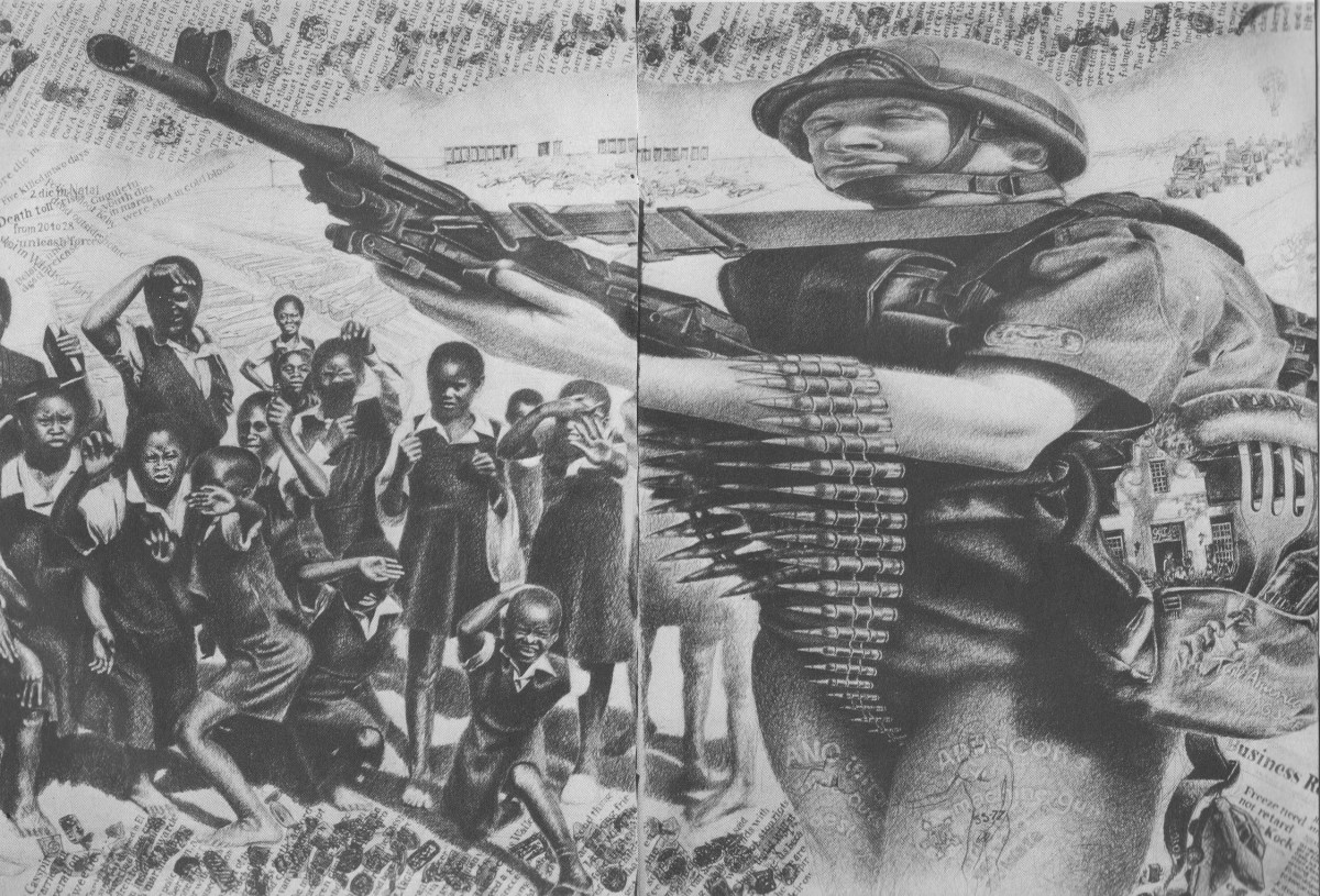 An artists rendition of the the South African Defense Force(SADF) using its heavily armed military might to attack children and babies