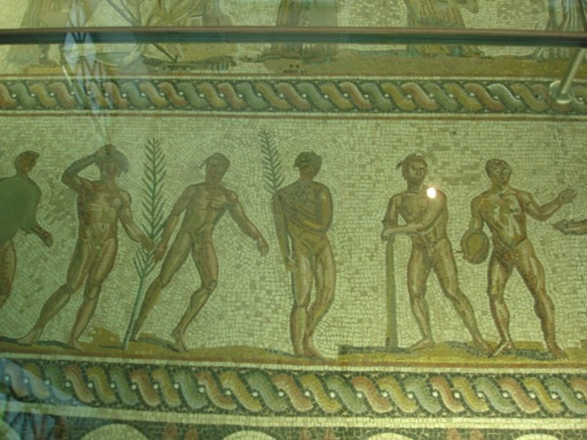 Mosaic flooring depicting the winners of various events wearing wreaths.