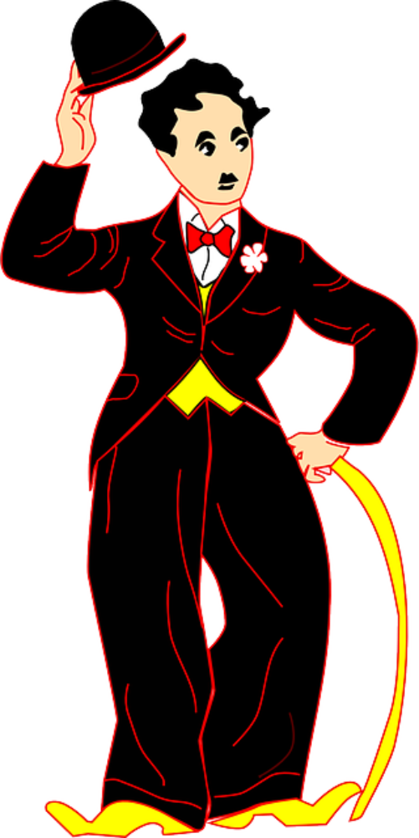 Charlie Chaplin - colorful cartoon clipart representation with a black suite and red bow tie and yellow vest