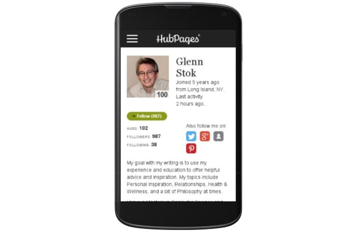My HubPages Profile displayed on a Mobile Device.