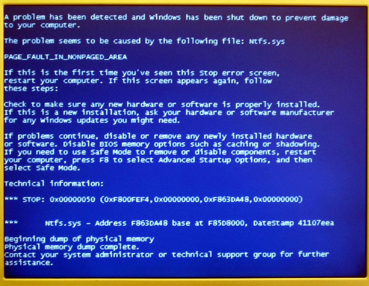 "Windows error, or ""blue screen of death"" (CC BY 2.0)."