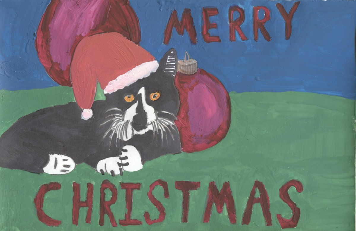 Here is the tempra painting I created for my Christmas card image. (Photo and illustration by Sweetiepie on Hubpages).