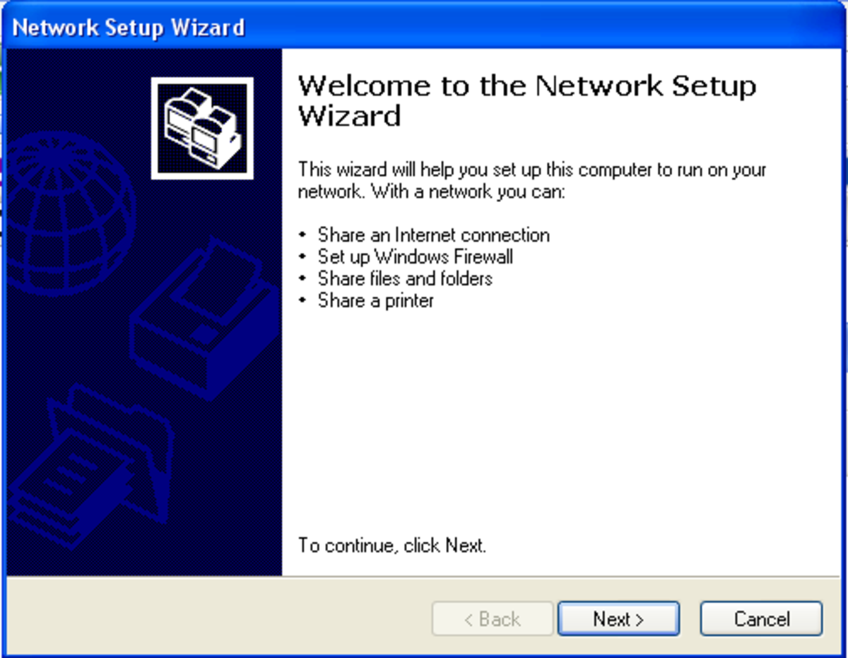 Go to the Start Menu, click Control Panel, and then Network Setup Wizard button. This is the first screen you'll see.