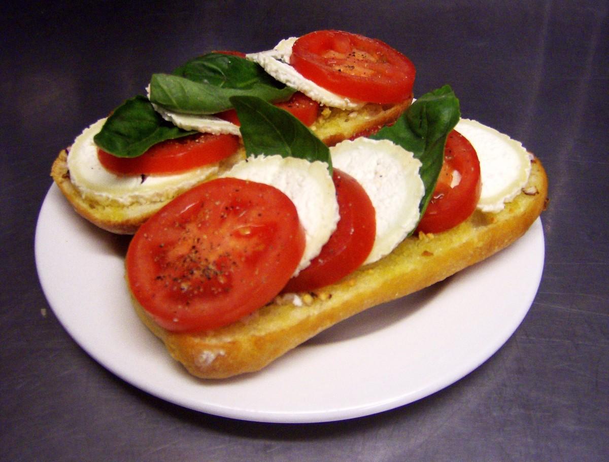 Open-faced caprese sandwich