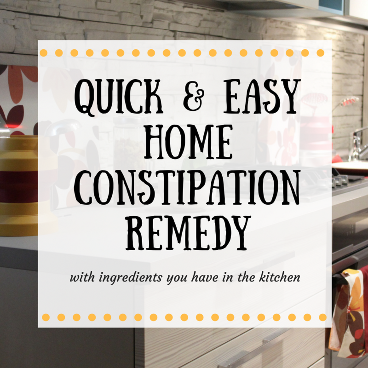 It's easy to resolve constipation using the quick and easy home remedy I have provided.