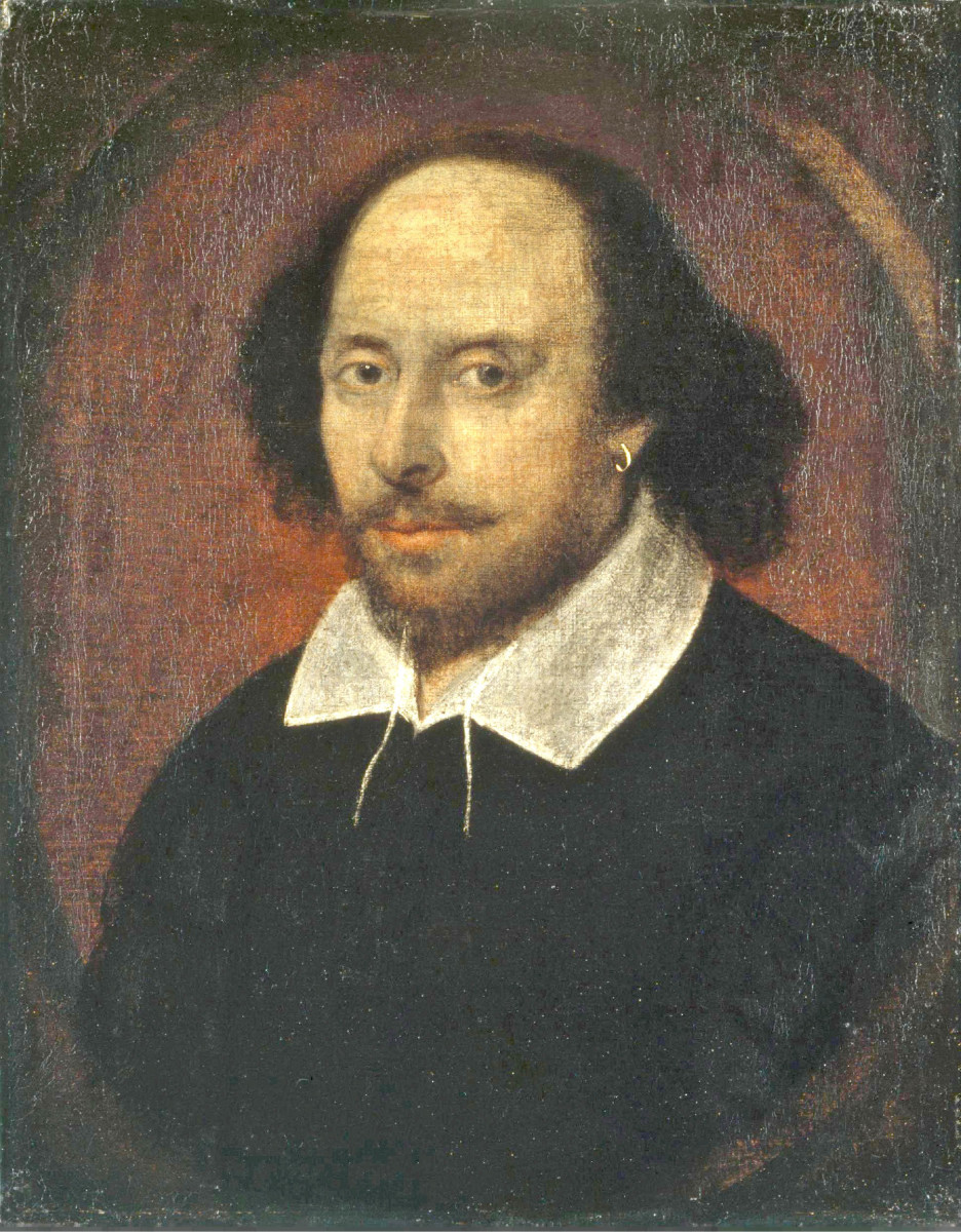 'Faithful photographic reproduction of an original two-dimensional work of art', possibly by John Taylor. 'The work of art itself is in the public domain (1610). See: http://en.wikipedia.org/wiki/File:Shakespeare.jpg