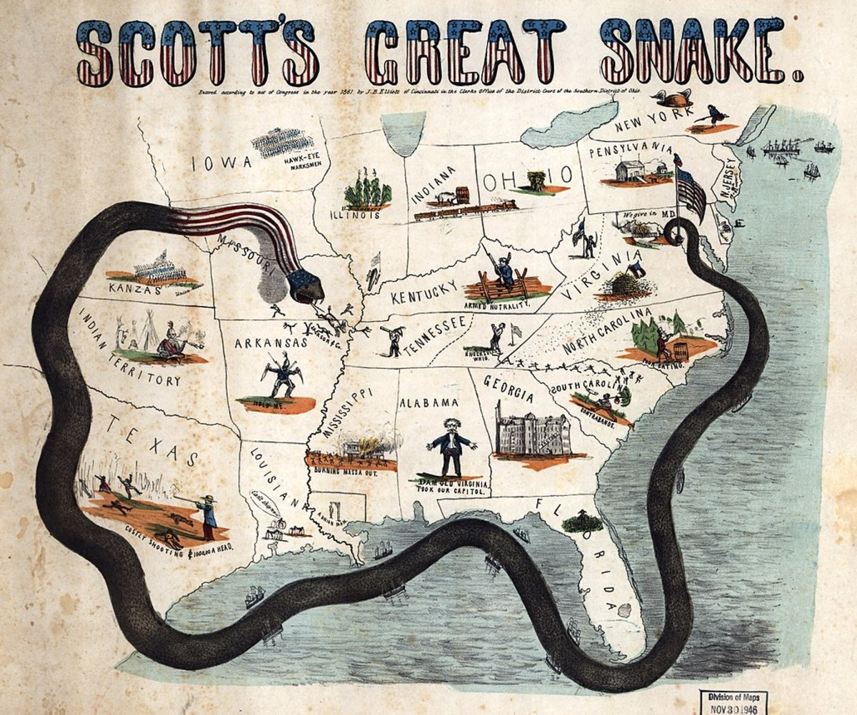 Stylized map of the Anaconda Plan, also known as Scott's Plan